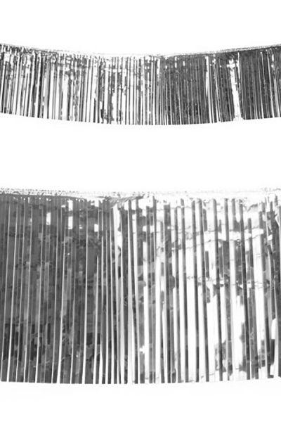 Franje slinger metallic zilver 10m brandvertragend