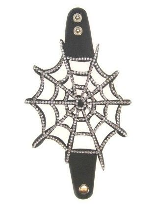 Armband skai met Strass spinnenweb