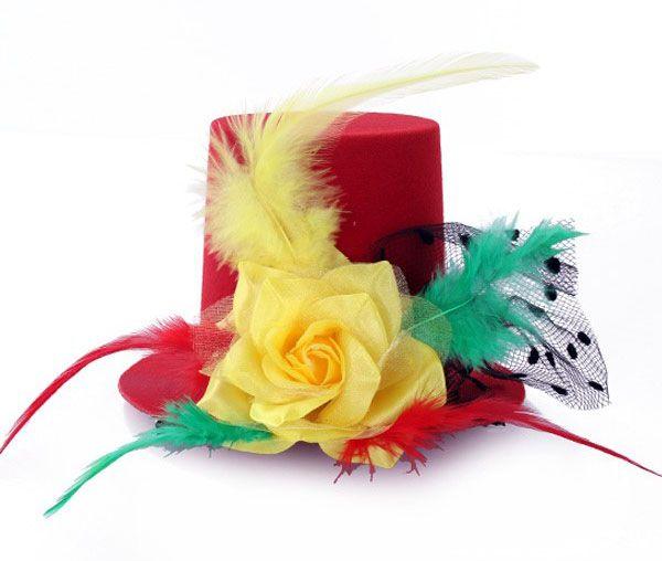 Mini carnavalshoedje rood geel groen met roos veren