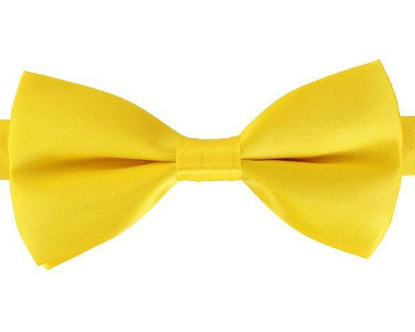 Vlinderstrik luxe satijn geel