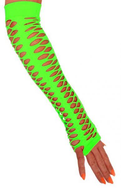 Handschoenen vingerloos grote gaten fluor groen