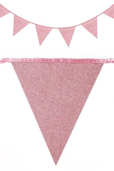 Vlaggenlijn glitter Rose Goud 30m