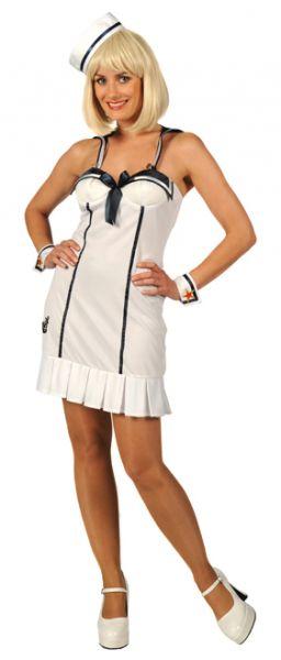 Carnavalskledij stoute matroos marine dame wit