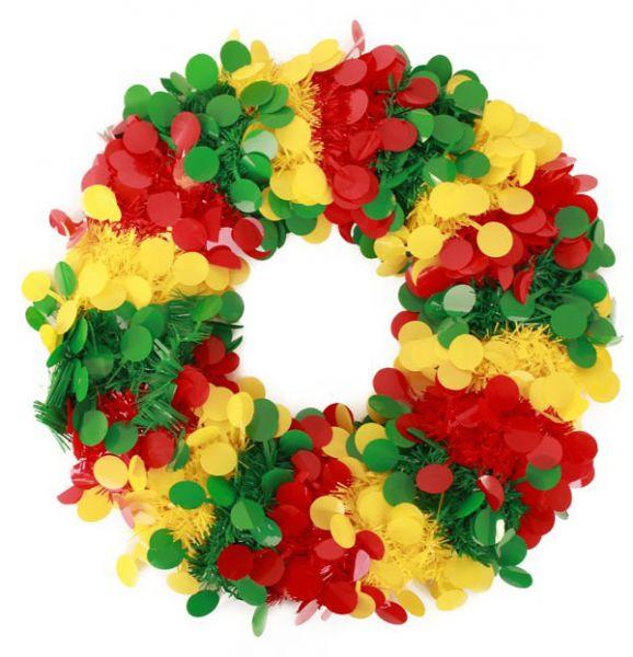 Deurkrans confetti snippers rood geel groen Brandveilig