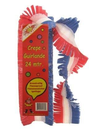 Crêpe guirlande Nederland bedrukt rood wit blauw