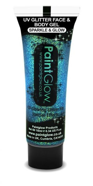 PaintGlow UV Gesichts- und Körper Glitzer Gel Blau