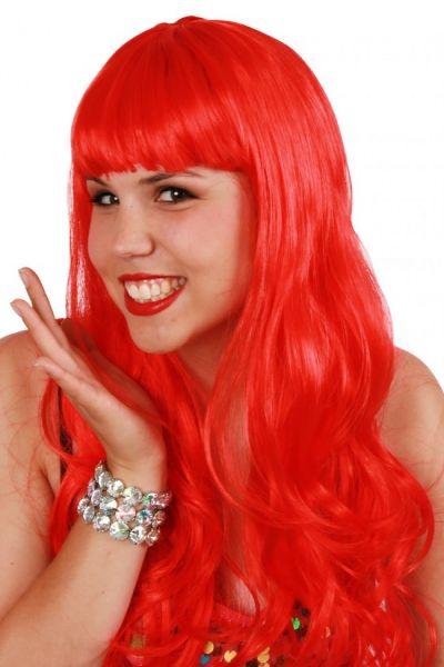 Damespruik lang stijl haar rood sensation