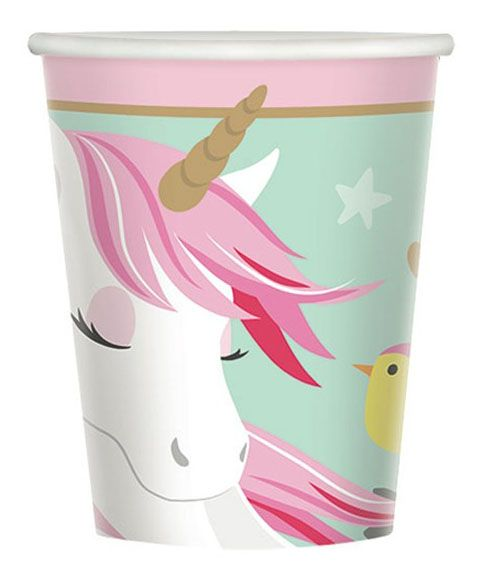 48 Unicorn Eenhoorn bekers 266 ml Papier