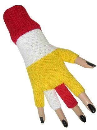 Vingerloze handschoen rood wit geel Oeteldonk