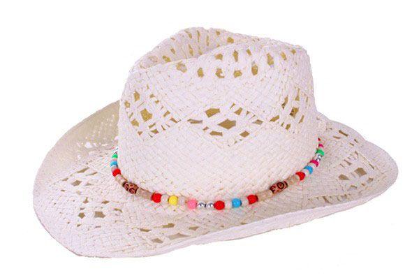 Cowboyhoed wit luxe met kralenband