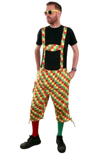 Carnival Latzhose red yellow green checkered