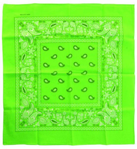 Fluor groene zakdoeken bandana met motief