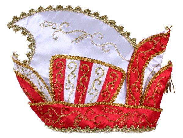 Prinsenmuts rood wit goud galon