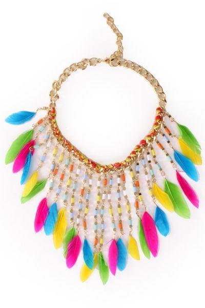 Halsketting met kleurrijke veertjes Ibiza Indiaan