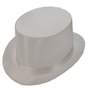 Hoge hoed satijn de luxe wit