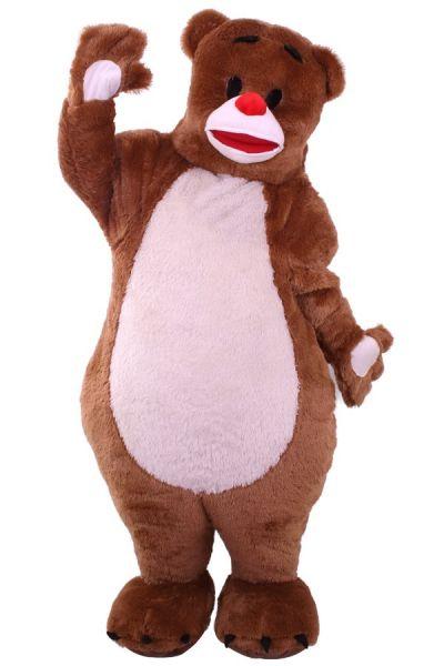 Bruine knuffelbeer mascotte met dikke buik