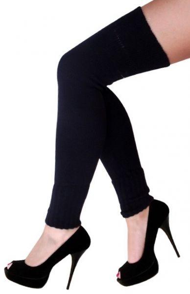 Dames knie over beenwarmers zwart
