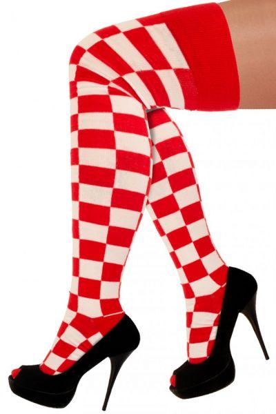Lange sokken rood wit geblokt Brabant