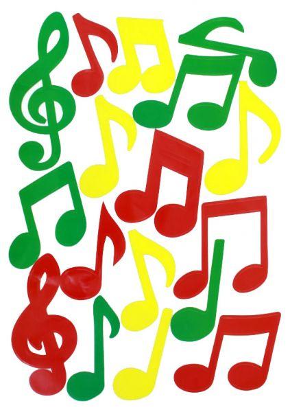 Raamsticker muzieknoten rood geel groen