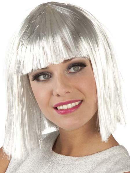 Pruik wit met zilveren slierten