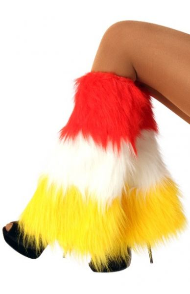 Beenwarmers pluche rood wit geel