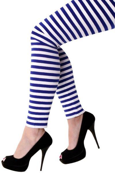 Legging donkerblauw wit gestreept