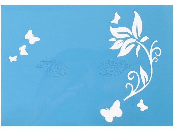 Schmink-sjabloon tak met blaadjes met vlinders