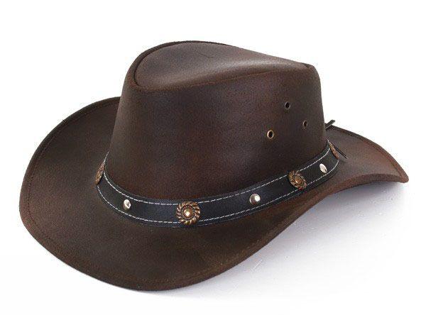 Leren bruine Cowboyhoed