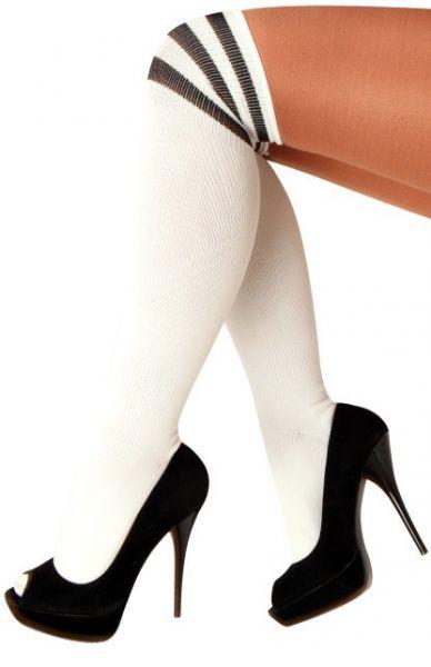Lange kniekousen wit met 3 zwarte strepen