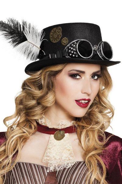 Vliegeniers steampunk hoed met tandwielen