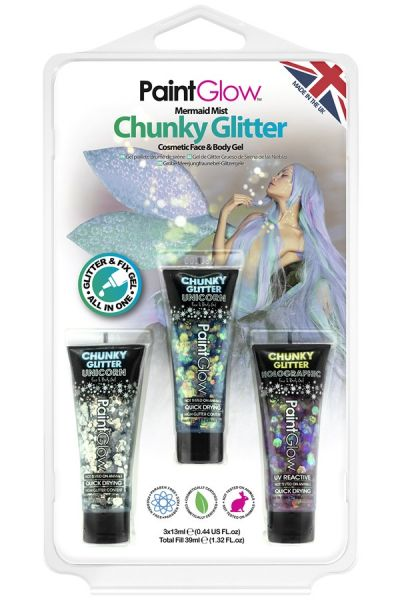 PaintGlow set chunky glitter gezicht lichaam gel Mermaid Mist