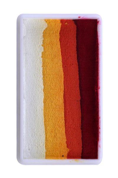 One Stroke split cake red orange yellow white Face Painting PartyXplosion