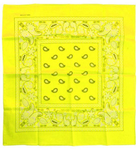 Fluor gele zakdoeken bandana met motief