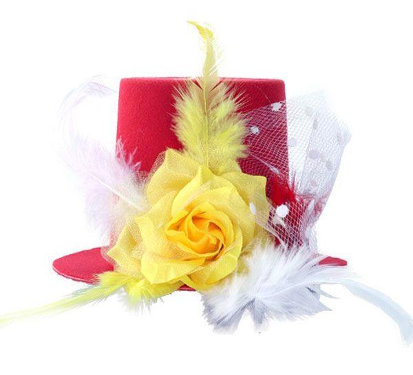 Mini hoedje Oeteldonk met roos veren