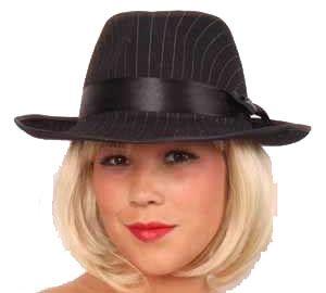 Al capone hoed zwart met krijtstreep