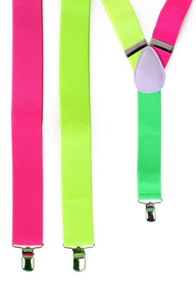 Bretels neon rood - geel - groen fluor