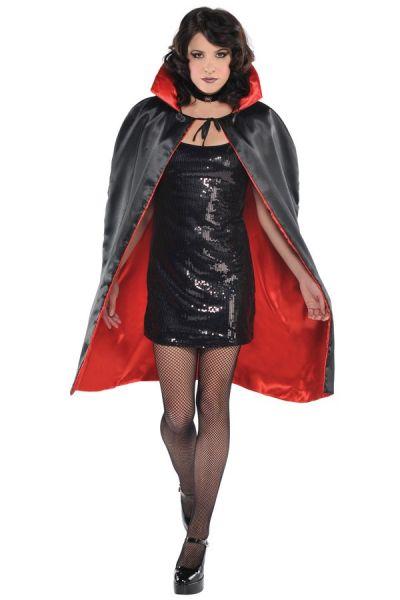 Halloween horror Cape rood zwart omkeerbaar
