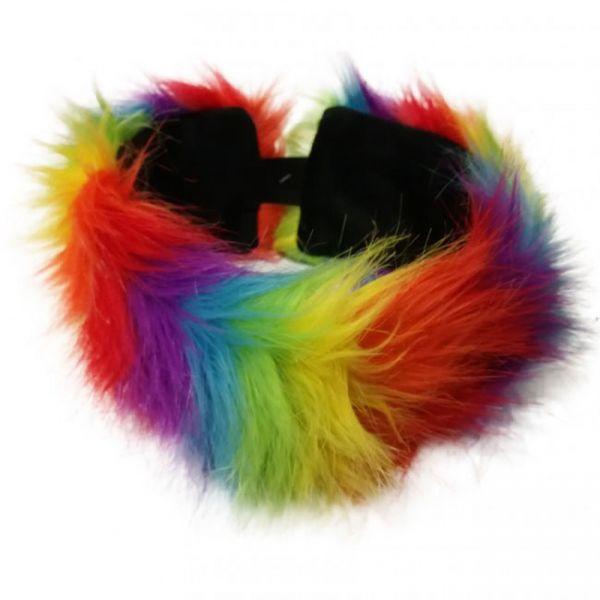 Hoofdband regenboogkleuren pluche