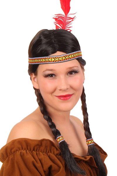 Pruik indiaanse Snelle Speer met vlechten