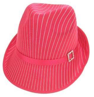 Toppers hoed glans pink met krijtstreep