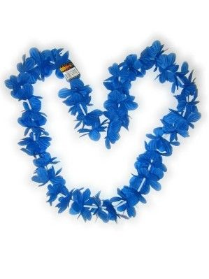 Hawaii halsketting blauw slinger kransen 12 stuks