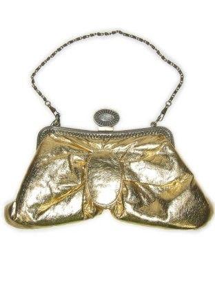 Tasje lamee stof goud met metalen ketting