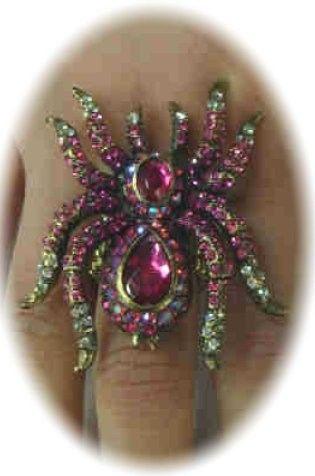 Luxe ring met paarse spin verstelbaar