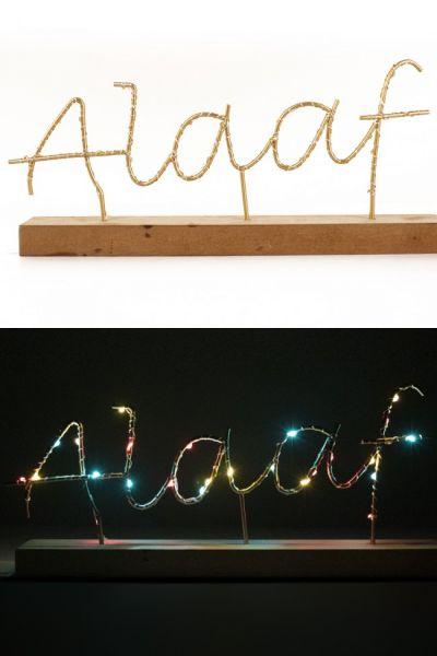 Plankje met tekst ALAAF verlicht