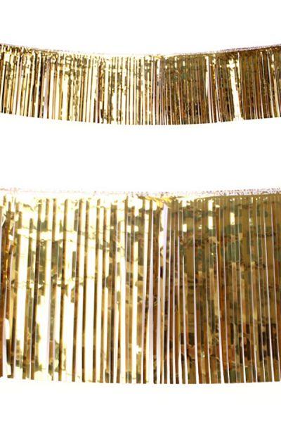 Franje slinger metallic goud 10m brandvertragend