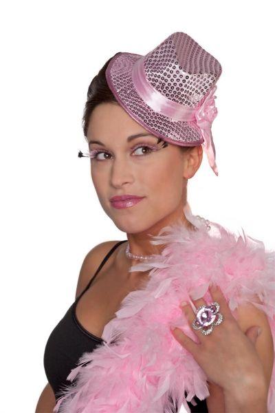 Toppers roze paillettenhoed mini met clip
