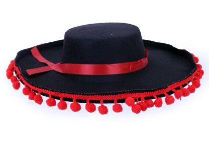 Spaanse hoed met rode balletjes bies