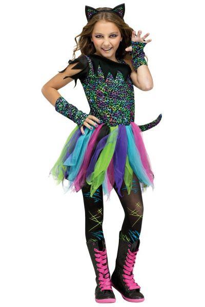 Carnavalskleedje Tijger neon kleuren meisje