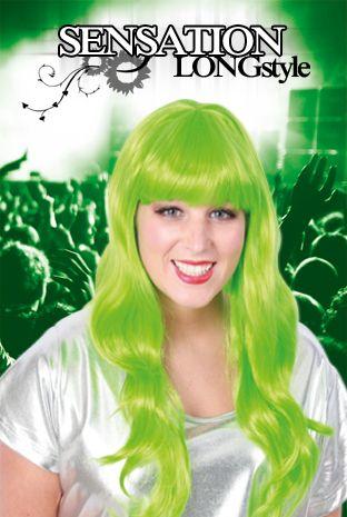 Pruik lang stijl haar neon groen