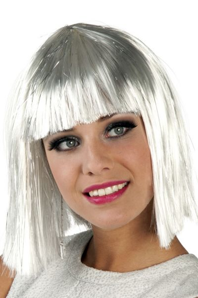 Pruik Glamour wit met zilver tinten
